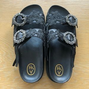 Ash black lace and leather sandals